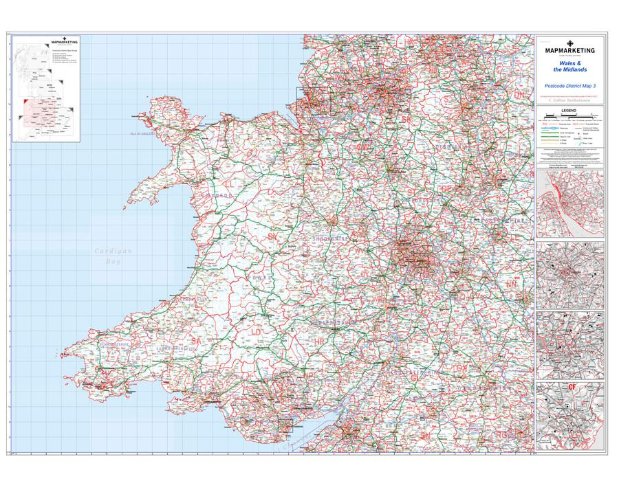 Wall Maps - Wales And The Midlands (Liverpool, Birmingham, Cardiff, Bristol) Postcode Wall Map - District Map 3