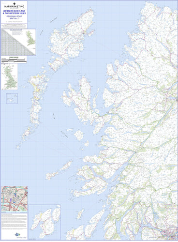 Wall Maps - Western Scotland And Western Isles Regional Road Map - Wall Map 2