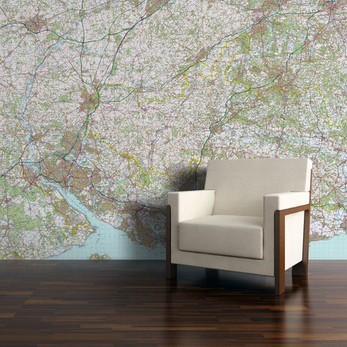 Wall Paper - Customised Map Wallpaper - Landranger Mapping