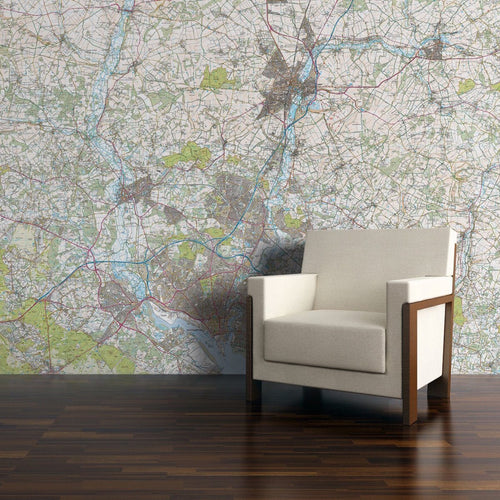 Wall Paper - Personalised Map Wallpaper - Explorer Mapping
