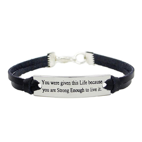 LEDERARMBAND MIT MOTIVATIONSSPRUCH
