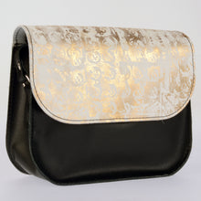 Icy Gold and Black Leather Saddle Bag - J D'Cruz