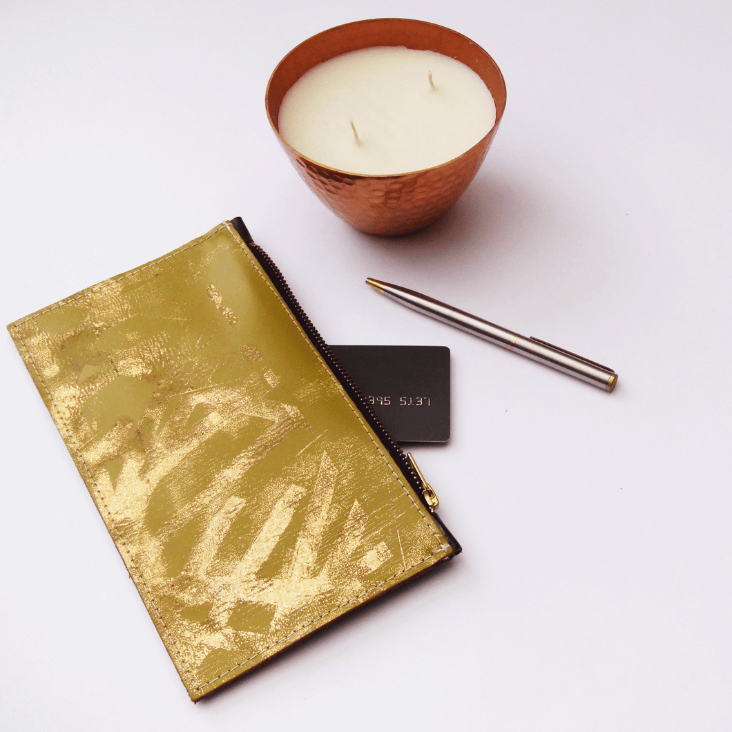 Green / Gold Small Leather Clutch