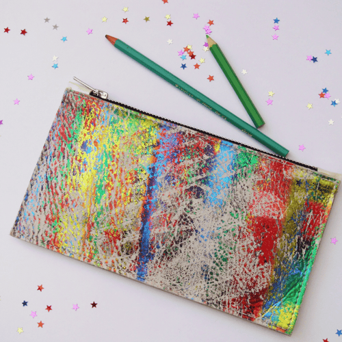 Rainbow Small Leather Clutch - J D'Cruz