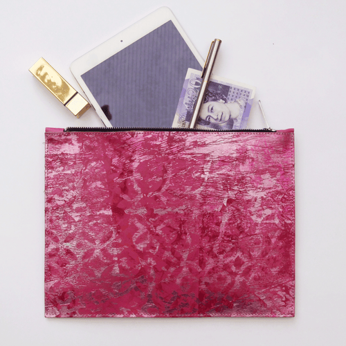 Candy Pink Large Leather Clutch