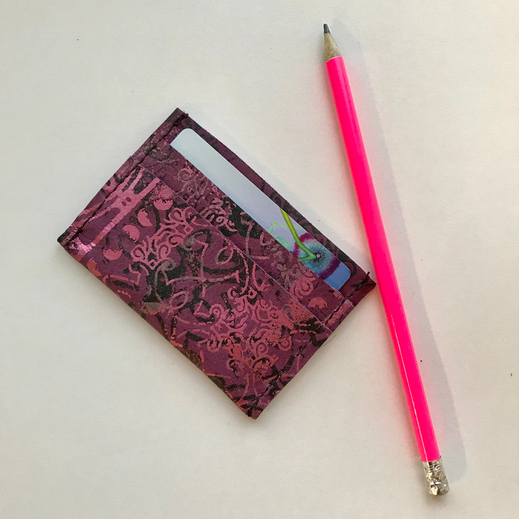 Grape and Pink Leather Card Holder