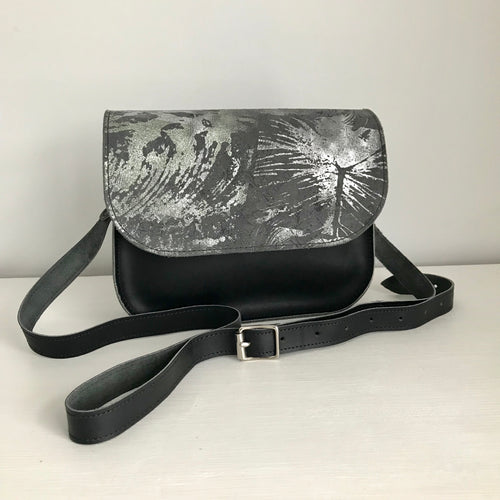 Blue Grey Metallic Leather Saddle Bag - J D'Cruz