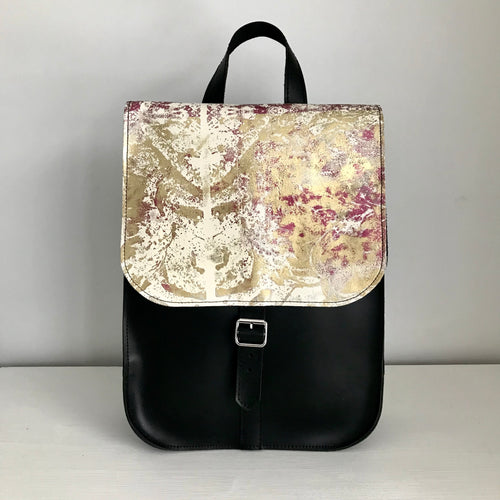 White Metallic Leather Rucksack