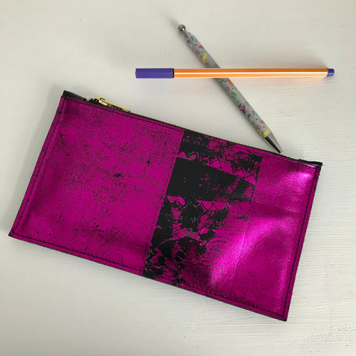 Bright Pink Small Suede Clutch - J D'Cruz