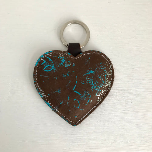 Brown Blue Leather Heart Keyring - J D'Cruz