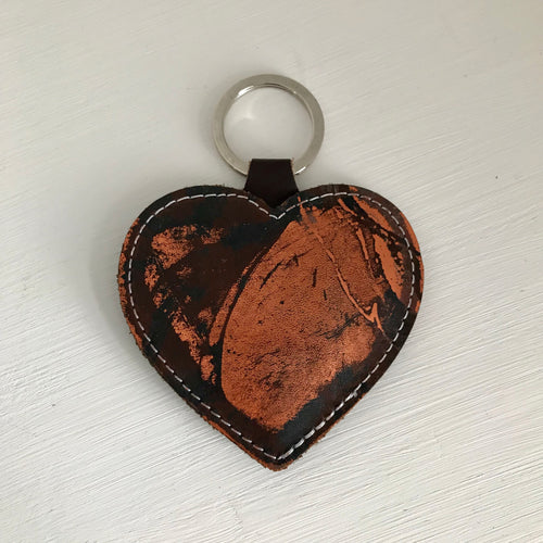 Copper Leather Heart Keyring - J D'Cruz