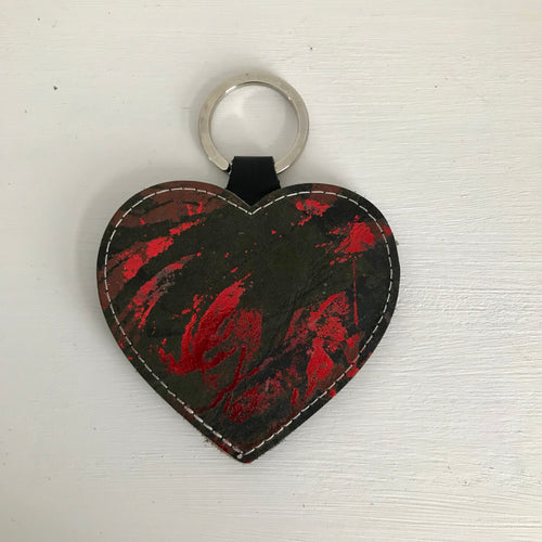Red Leather Heart Keyring - J D'Cruz
