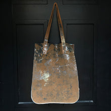 mustard leather shopping bag