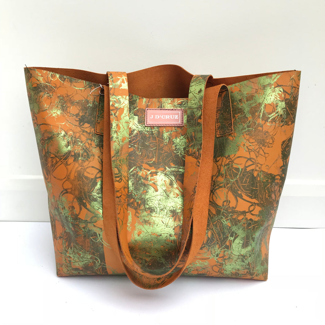Tangerine Green Large Leather Landscape Tote - J D'Cruz