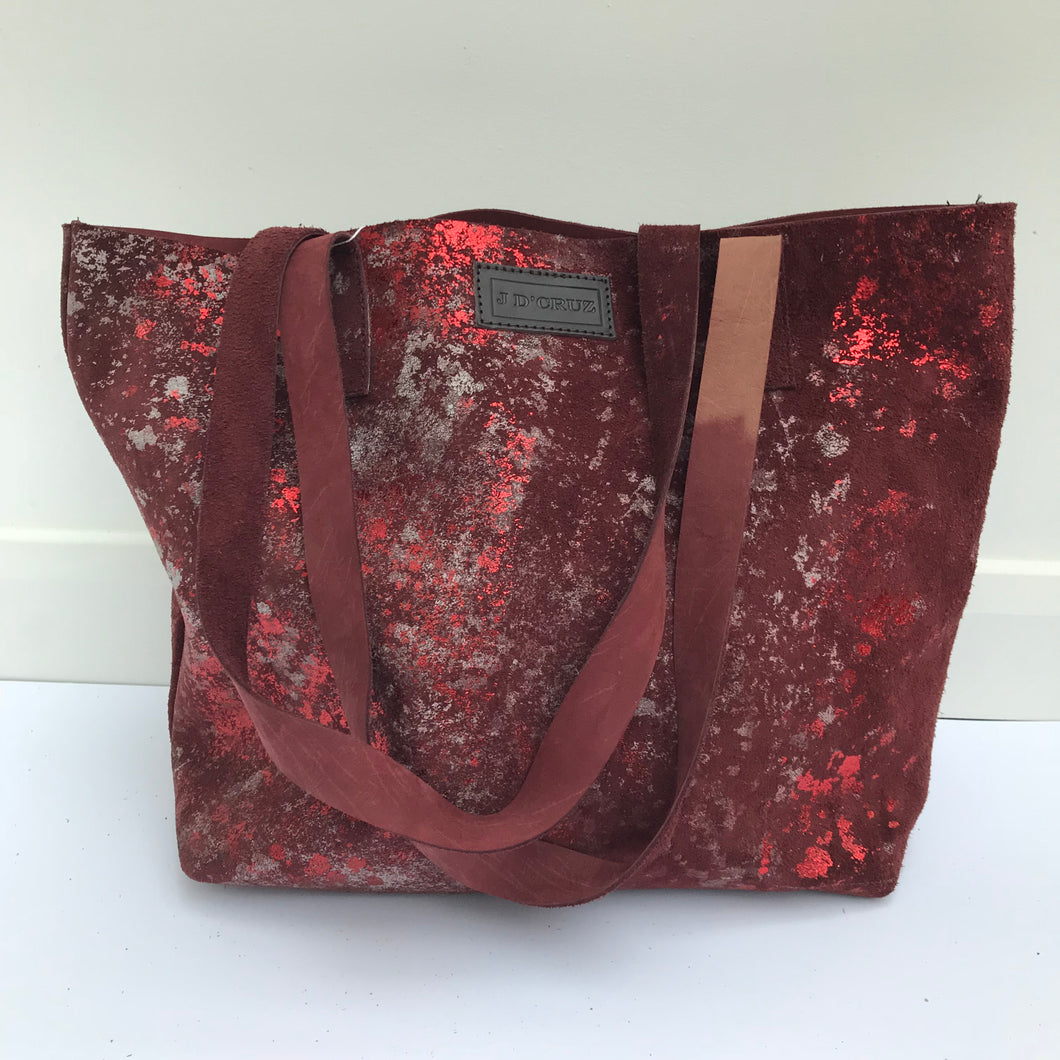 Deep Red Large Leather Landscape Tote - J D'Cruz