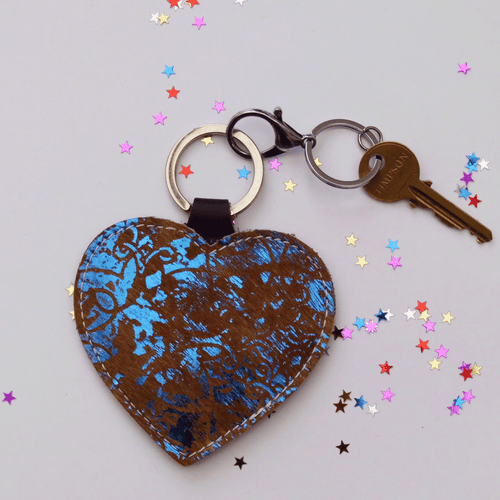 Blue Leather Heart Keyring - J D'Cruz