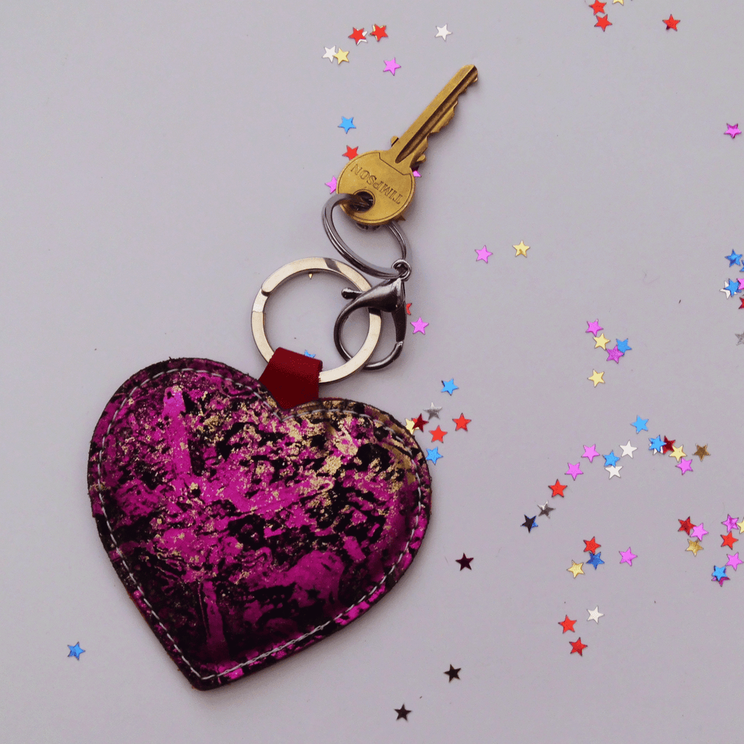 Pink Leather Heart Keyring - J D'Cruz