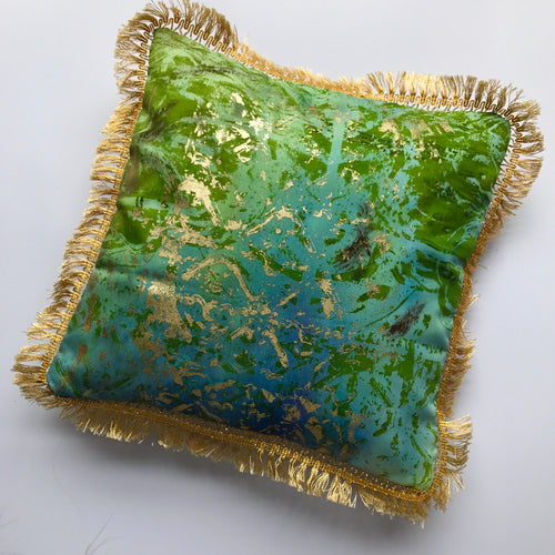 Small Fringed Green and Gold Cushion - J D'Cruz