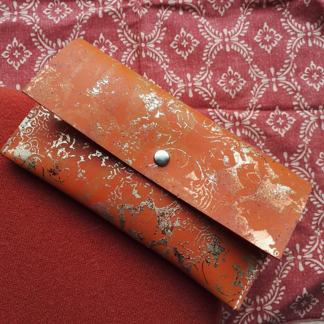 Tangerine Large Leather Coin Purse