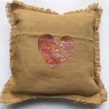 Medium Hessian Heart Embroidered Cushion - J D'Cruz