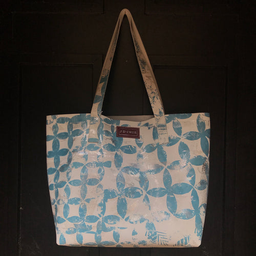 Icy Blue Large Leather Landscape Tote - J D'Cruz