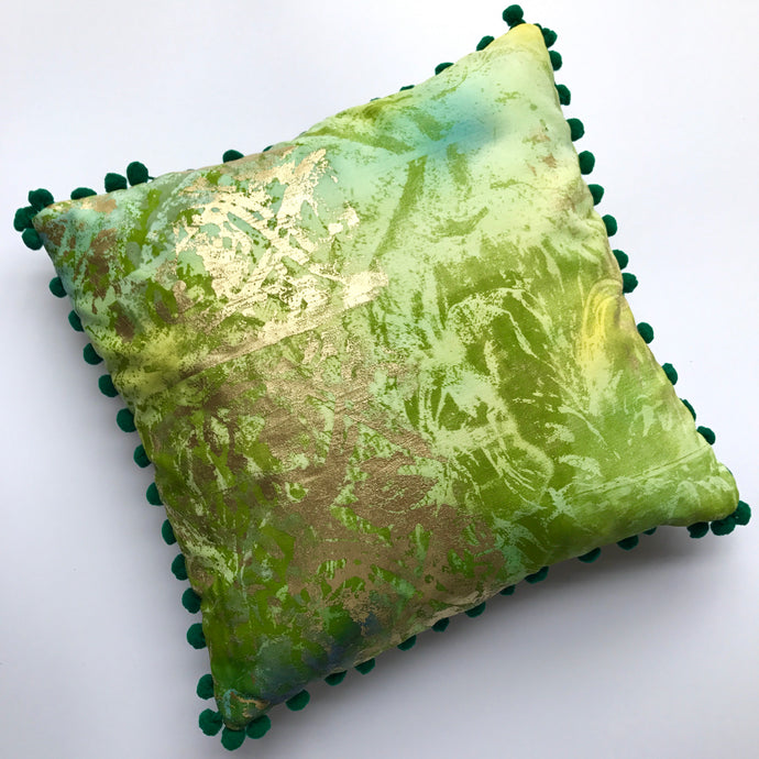 Small Pom Pom Green Cushion - J D'Cruz
