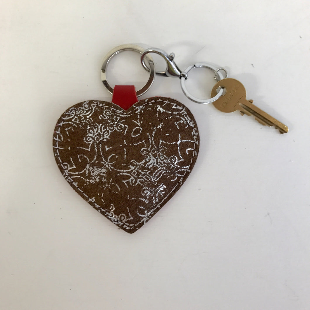Silver Hair On Hide Heart Keyring - J D'Cruz