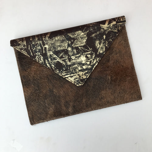 Chocolate Delight Envelope Clutch with Hide - J D'Cruz