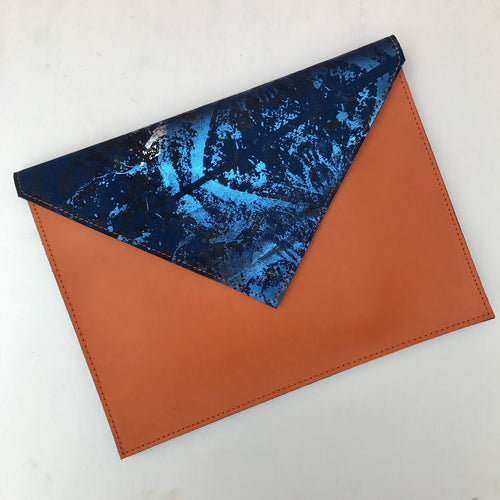 Orange and Cobalt Envelope Clutch - J D'Cruz