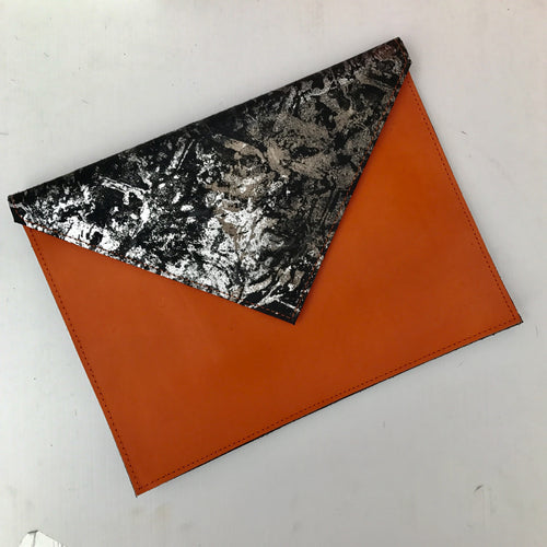 Metallic Orange Envelope Clutch - J D'Cruz