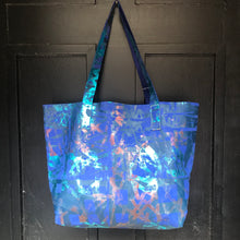 Blueberry Large Leather Landscape Tote - J D'Cruz