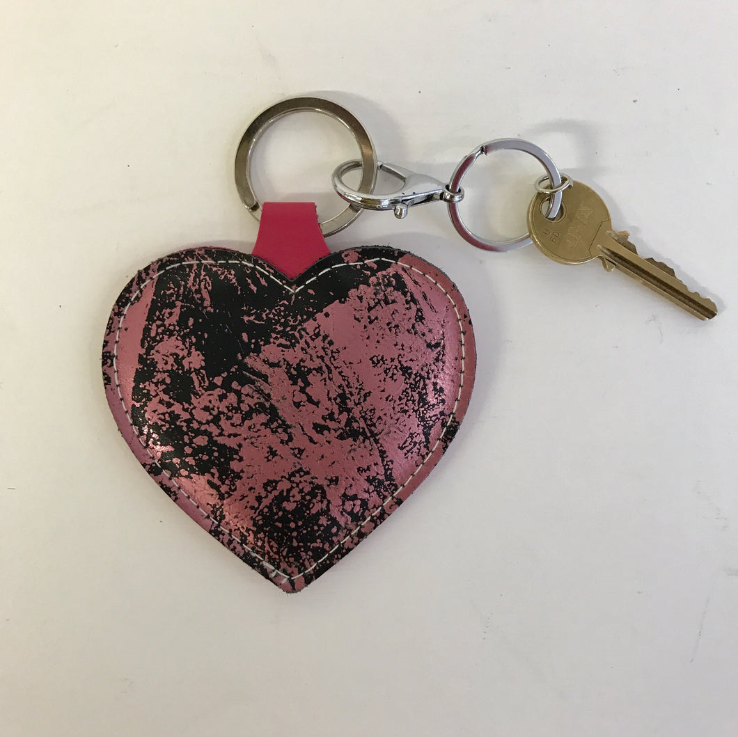 Pink Black Leather Heart Keyring - J D'Cruz