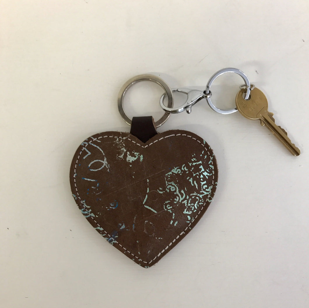 Brown Turquoise Leather Heart Keyring