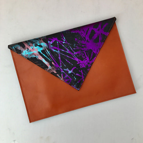 Multicoloured Orange Envelope Clutch - J D'Cruz