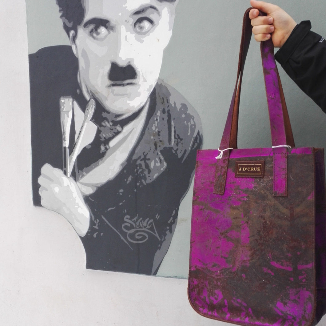 Purple Small Leather Tote - J D'Cruz