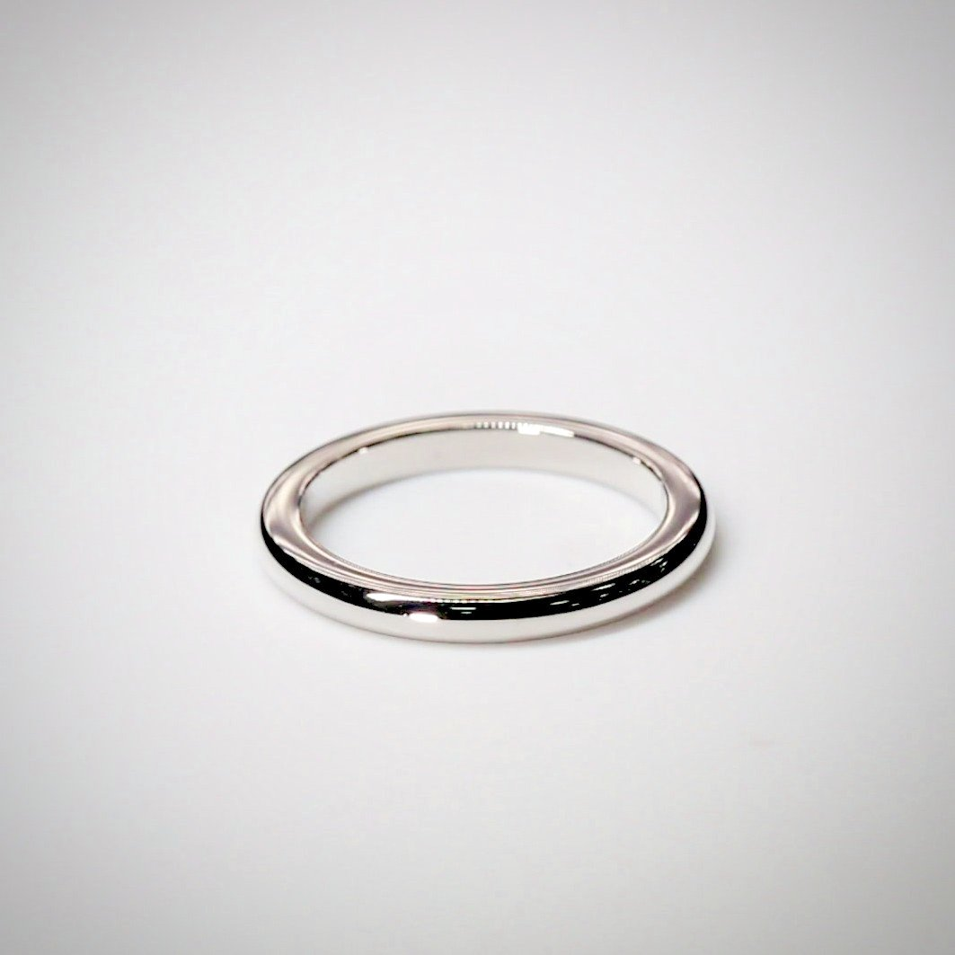 2mm Traditional D Shape Platinum Wedding Ring