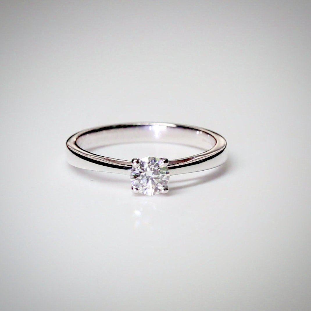 Round 0.36ct Diamond Engagement Ring in 18K White Gold