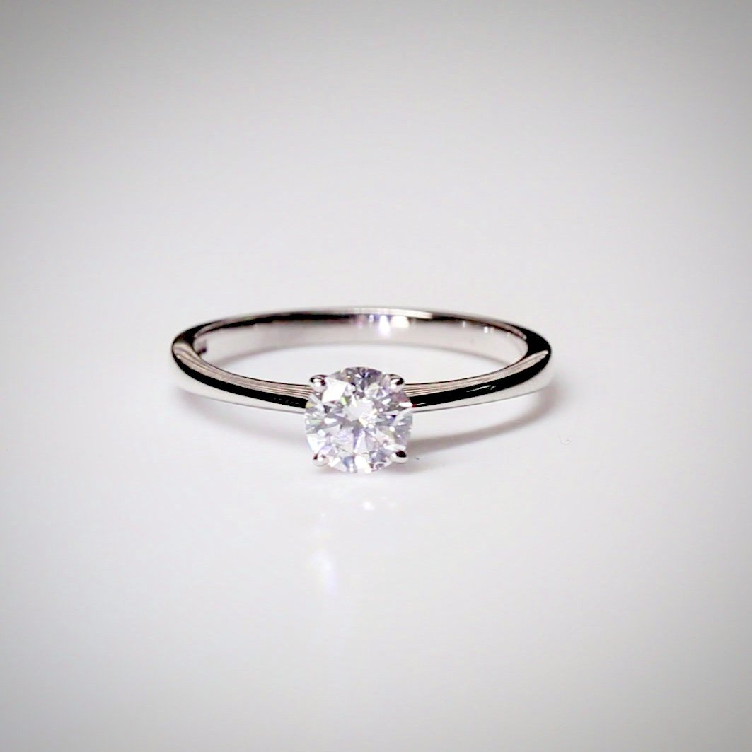 Round 0.50ct Diamond Engagement Ring in 18K White Gold
