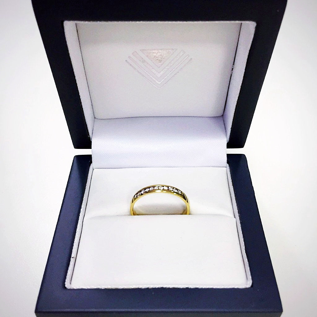 2.5mm Quarter Channel Set 18K Yellow Gold Diamond Ring