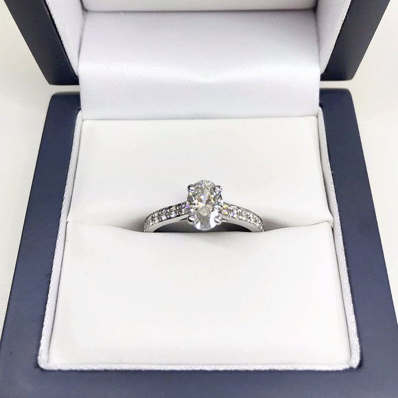 Oval 1.22ct Diamond Set Ring in 18K White Gold