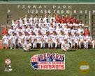 Boston Red Sox - 2007 World Series Champions Team Sit Down next to Green Monster at Fenway Park - MLB Color 8x10 Photo