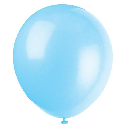 "Unique Industries, 12"" Latex Balloons, Diy Party Decoration   Pack Of 10, Baby Blue"