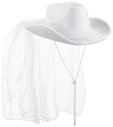 Beistle 60739 Western Bride's Hat, One Size Fits Most, White, 1 Piece Pack