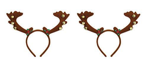 Beistle 20816, 2 Piece Reindeer Antlers with Bells, One Size Fits Most
