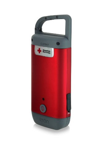 American Red Cross Clipray Crank Powered, Clip On Flashlight & Smartphone Charger, Red