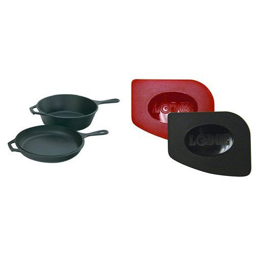 Lodge Lcc3 Pre Seasoned Cast Iron Combo Cooker, 3.2 Quart And Lodge Scraperpk Durable Polycarbonate