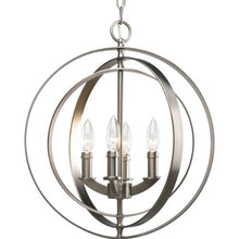 Progress Lighting P3827-126 4-Light Sphere Foyer Lantern with Pivoting Interlocking Rings, Burnished Silver