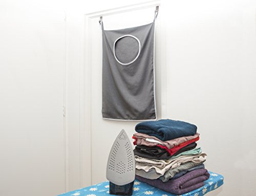 Laundry Nook, Door Hanging Laundry Hamper With Stainless Steel Hooks, Gray, Large Size