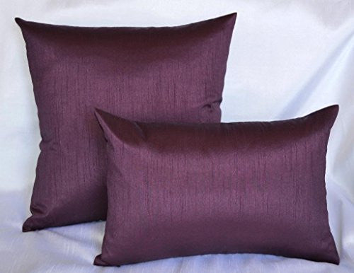 Aiking Home Solid Faux Silk Decorative Pillow Cover, Zipper Closure, 20 By 20 Inches, Eggplant