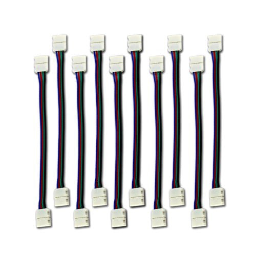 Zitrades 10 Pcs Led 5050 Rgb Strip Light Connector 4 Conductor 10 Mm Wide Strip To Strip Jumper